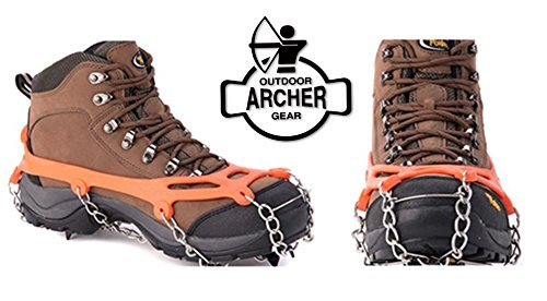 Climbing Lightweight Hiking Boots - Archer Outdoor Gear Universal Climbing Crampons featuring 12 Stainless Steel Teeth - Ideal Non-Slip Traction Cleats for Climbing, Hiking & Walking in Ice & Snow - Fits Shoes & Boots (Orange)