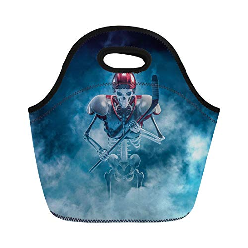 Semtomn Neoprene Lunch Tote Bag the Phantom Hockey Player 3D of Scary Skeleton Ice Reusable Cooler Bags Insulated Thermal Picnic Handbag for Travel,School,Outdoors, -