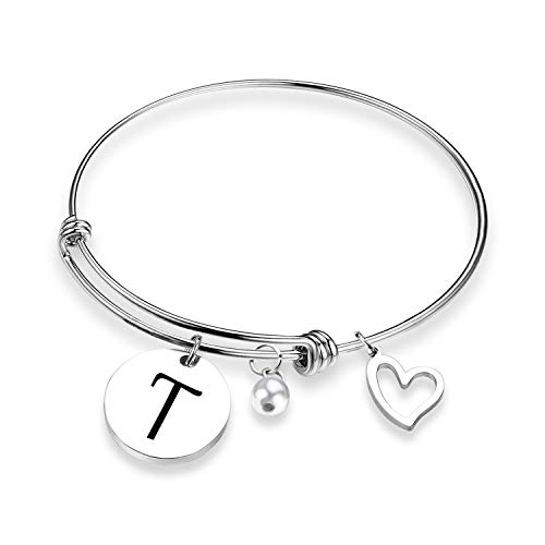 EIGSO Initial Bracelet Letter Bracelet with Heart Charm Memory Bracelet Jewelry Gift for her (BR-T) ... -