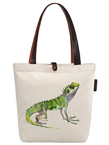 So'each Women's Lizard Animal Graphic Canvas Handbag Tote Shoulder Bag