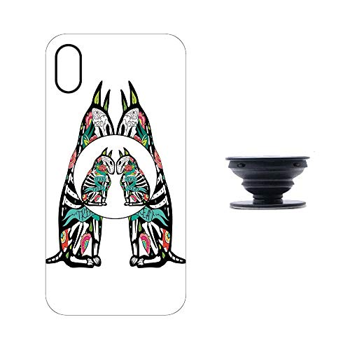 iphoneXMaX Case with Collapsible Grip&Stand/Halloween Decorations/Skeleton Demon Figures Flowers and Trick or Treat Quote Ethnic Design/Multi/Compatible with iphoneXMaX(TPU Case/Black) ()