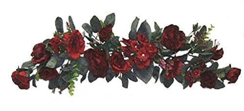 Burgundy Swag Roses Hydrangea Silk Wedding Flowers Arch Gazebo Centerpieces