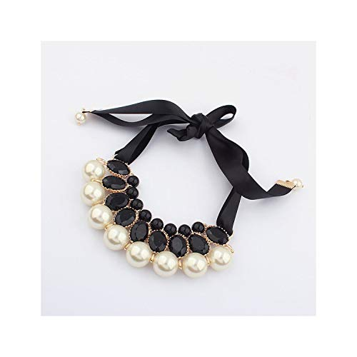 Holiday-Online-Store New Hot Simulated Pearl Necklace Jewelry Silk Chain Statement Necklaces for Gift Party Wedding Engagementblack