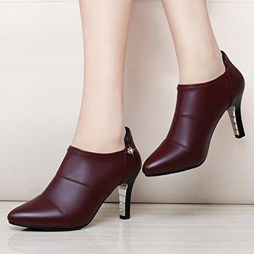 KHSKX-6Cm Zapatos Con Tacon Alto Boca Profunda Solo Zapato Y Pequeños Zapatos De Cuero Zapatos De Cuatro Estaciones Claret