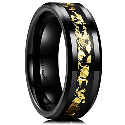 - King Will Nature Mens 8mm Black Tungsten Carbide Wedding Ring with Black and Gold Foils Inlay Beveled Edge 10