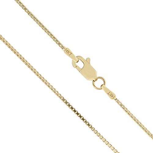 (14K Solid Yellow Gold 1mm Box Chain Necklace - 18 Inches)