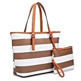 Dasein Women's Top Handle Structured Two Tone Tote Bag Satchel Handbag Shoulder Bag With Shoulder Strap (7326 Stripes Coffee/White)