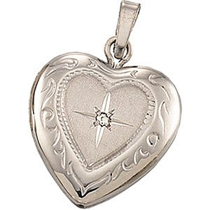 Petite 14k White Gold Diamond Heart Locket (GHI Color, I3 Clarity ) by The Men's Jewelry Store (for HER)