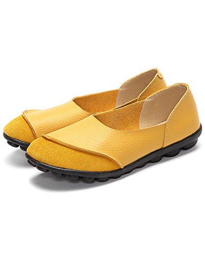 Mocasines Mujer Amarillo Cuero para Mrs Duberess de BwqqA4
