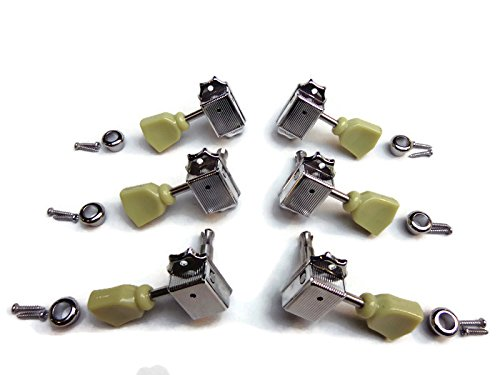 Gibson Vintage Guitar Parts - Vintage 3x3 Tuning Pegs For Guitar Gibson Les Paul Sg Style Aged Keystone Chrome