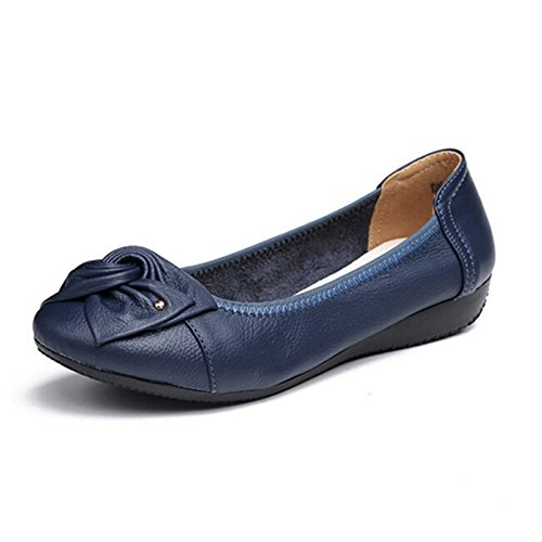 MayBest Women's Casual Bow Tie Flats Soft Sole Slip On Comfort Driving Moccasin Pumps Loafers Ballet Court Dancing Shoes Blue 6 B (M) US