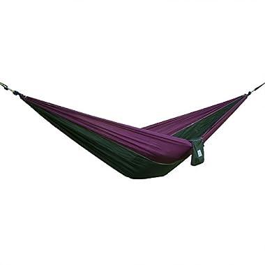 OuterEQ Portable Nylon Fabric Travel Camping Hammock Purple/Army