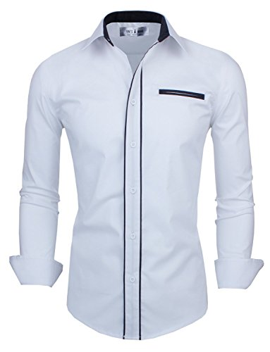 Tom's Ware Mens Premium Casual Inner Contrast Dress Shirt TWNMS310-1-CMS03-WHITE-US M by Tom's Ware