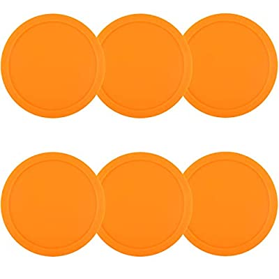 3 1/4 inch Air Hockey Pucks, Full Size Goal Packs Replacement Accessories for Game Tables (6 Pcs) (Orange) : Sports & Outdoors