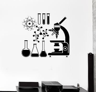 Wall Vinyl Sticker Decal Microscope Science Scientist Chemistry School VS079