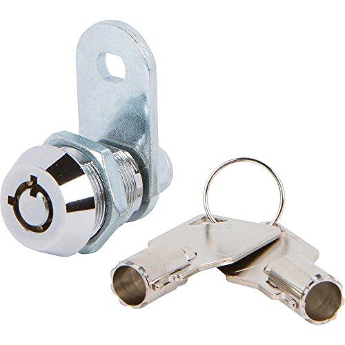 Tubular Cam Lock with 5/8'' Cylinder and Chrome Finish, Keyed Alike with 2 Keys, 1 1/4'' Cam and Offset Cam