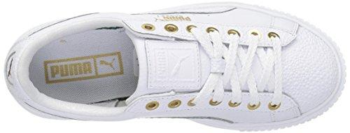 Puma Womens Basket Platform Pearl Wns Fashion Sneaker Puma White-puma Team Gold