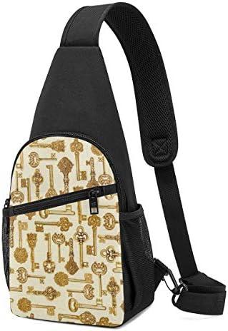 金色の鍵 斜め掛け ボディ肩掛け ショルダーバッグ ワンショルダーバッグ メンズ 多機能レジャーバックパック 軽量 大容量