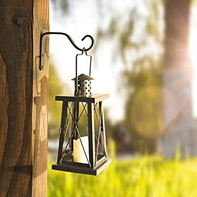 2Pcs 5in Decorative Outdoor Iron Wall Hooks for Hanging Lanterns Jars Sconces Solar Lights Small Plants Bird Houses, Black : Garden & Outdoor