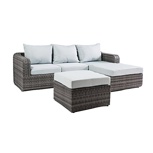 Carabelle Outdoor Wicker Patio 3 Piece Sectional Sofa Set with Chaise Lounge and Seat Cushions, Grey and Light Blue Review