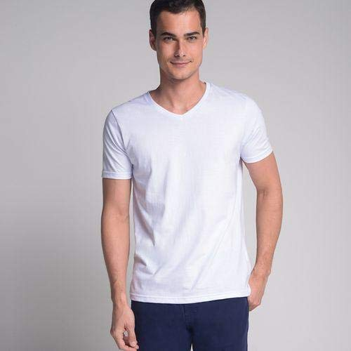 Camiseta Lisa Gola V Branco