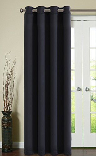 Fairyland Thermal Insulated Window Curtains for Living Room,1 Panel,52*84 inch,Black (Curtains 84 Hanging Inch)