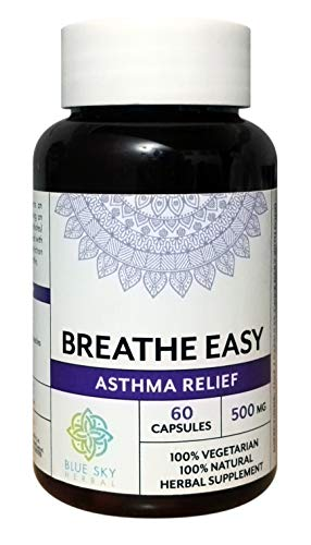 Blue Sky Herbal Asthma-aid- 60 capsules - 500mg each. Promotes healthy breathing and Lung Function, helps with allergies and allergen issues. Natural healing medicinals, traditional Ayurvedic recipe
