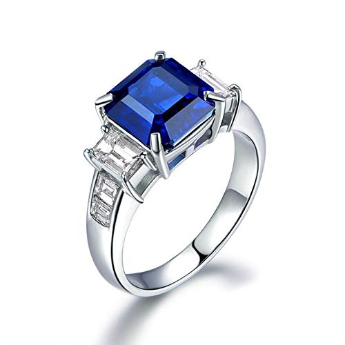 MoAndy Wedding Rings for Women Sterling Silver Jewelry Princess Cut Blue Sapphire Stacking Band Size 7.5 ()