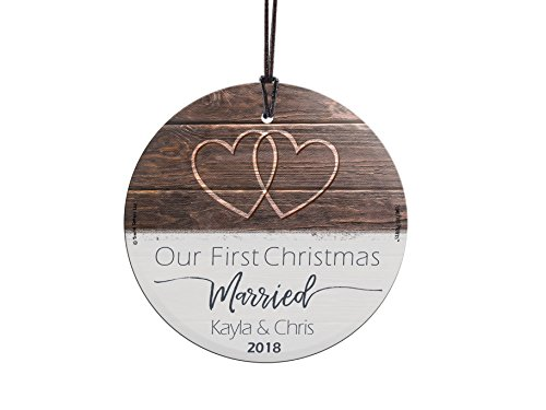 - First Christmas Married Fused Glass Ornament Personalized Rustic Double Hearts Farmhouse Newlyweds 1st Mr and Mrs Christmas Tree Wedding Date Display 3.5