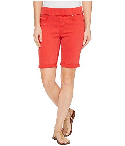 余暇デザイナー気候[リヴァプール] Liverpool レディース Sienna Pull-On Bermuda with Rolled-Cuff in Pigment Dyed Slub Stretch Twill in Ribbon Red パンツ [並行輸入品]