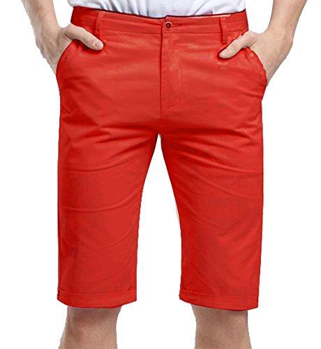 Mintsnow Mens Twill Shorts Active Casual Cotton Spandex Pants 36 Orange