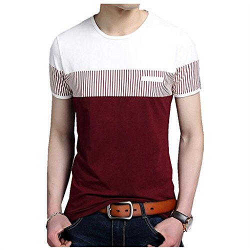 Trendy Youth T-shirts (Tsyllyp Mens Summer Fashion O-Neck Cotton Striped Short Sleeve t-Shirts)