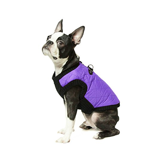 Gooby Cold Weather Fashion Bomber Dog Vest, Large, Violet