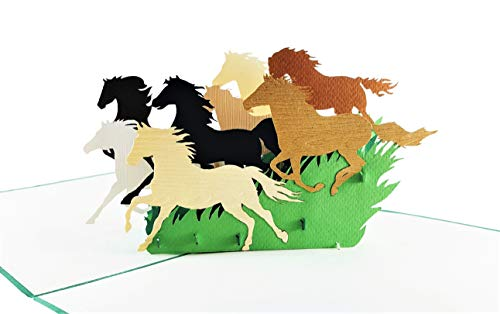 iGifts And Cards Inspirational Wild Horses 3D Pop Up Greeting Card - Majestic, Colt, Pony, Mustang, Stallion, Half-Fold, Happy Birthday, Retirement, Just Because, New Business Adventure, All ()