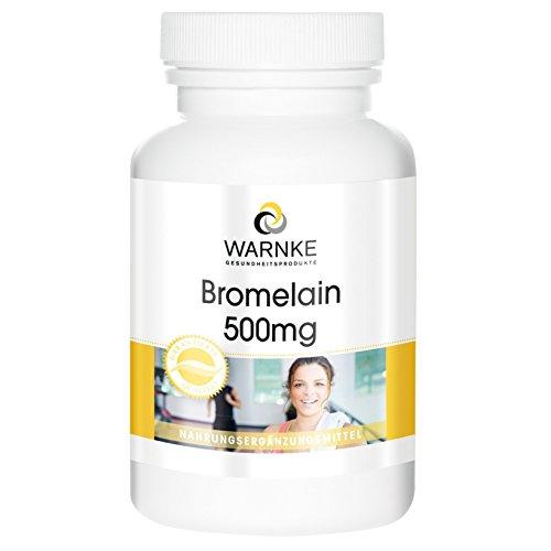 Bromelina 500mg de Warnke con encimas naturales de piña -250 comprimidos- Paquete grande- artículo vegano