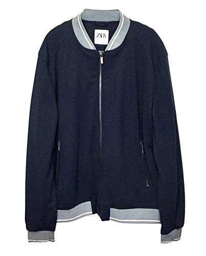 Zara Men Ribbed Bomber Jacket 0706/450 (X-Large) Blue for sale  Delivered anywhere in USA