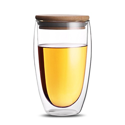 ONEISALL Double Wall Coffee Tea Mug ,Clear Glass Drinking Cup,Heat-resistant Beer&Wine Mug With Bamboo Lid (450ML) Heat Resistant Glass Cup
