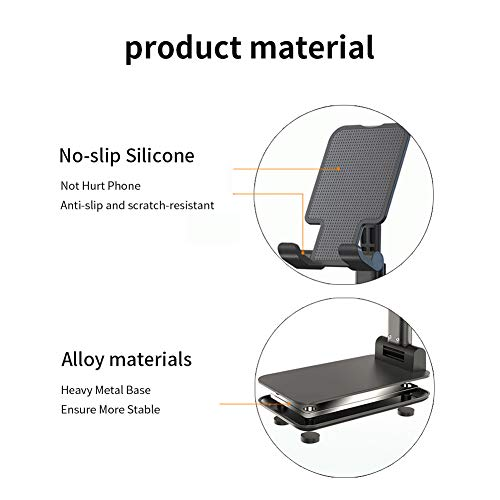 Adjustable Cell Phone Holder Stand, Foldable Portable Desktop Stand Desktop Tablet Stand Compatible with iPhone 11 Pro XS Max XR X Samsung Galaxy S10 S9 All Smartphones(Black)