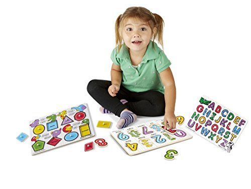 Melissa & Doug See-Inside Alphabet Peg, Numbers and Shapes Peg Puzzle VALUE pack - See Inside Shapes