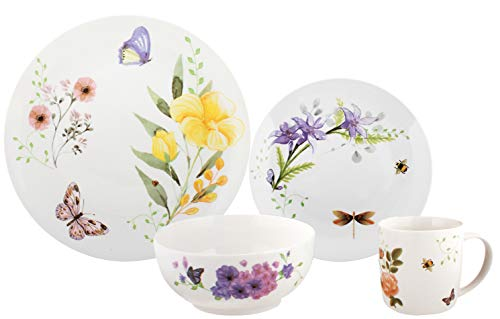 Melange 16-Piece Place Setting Premium Porcelain Dinnerware Set (Butterfly Garden Collection) | Service for 4 | Microwave, Dishwasher & Oven Safe | Dinner Plate, Salad Plate, Soup Bowl & Mug (4 Each) ()