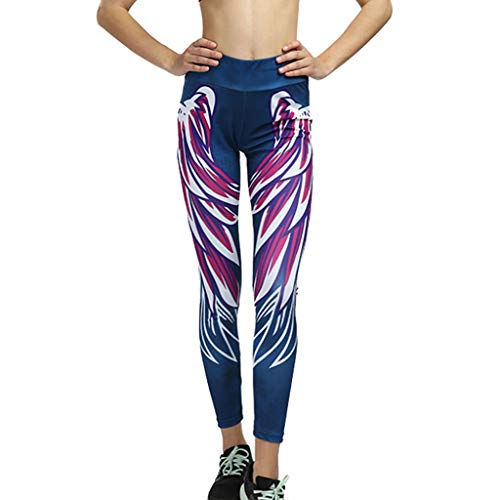 (FONMA Women Line Digital Print Yoga Thread Pants and Hips High Waist Thread Yoga Pants Red )