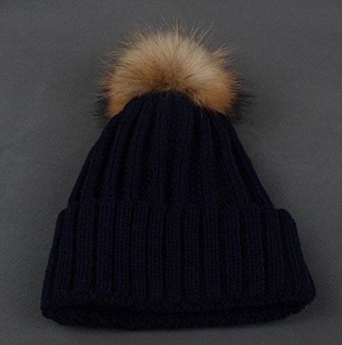 Mallcat Women Winter Crochet Fur Wool Knit Raccoon Warm Hat (Navy)