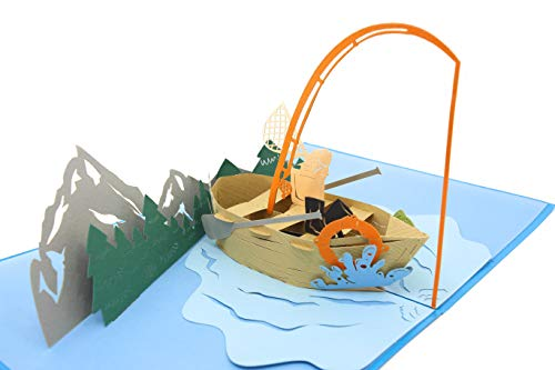 (PopLife Fishing Boat 3D Pop Up Fathers Day Card for your Hubby! - Happy Anniversary Pop Up Card for Dad, Birthday Popup, Retirement Party - Folds Flat for Mailing - for Dad, for Husband, for Son, Boss)