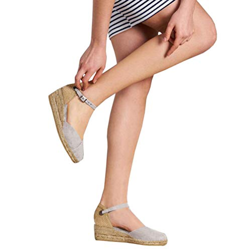 Nailyhome Womens Espadrille Platform Sandals Closed Toe Ankle Straps with Slingback Wedge Sandals