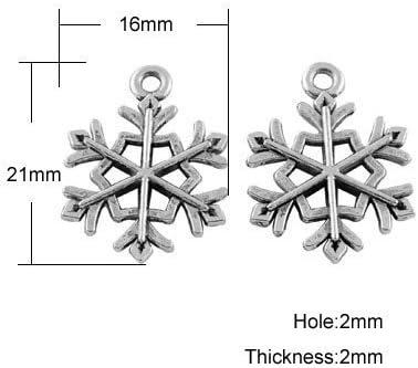 - - Charming Beads Paquet 20 x Argent Antique Tib/étain 21mm Breloques Pendentif ZX09495 Flocon De Neige