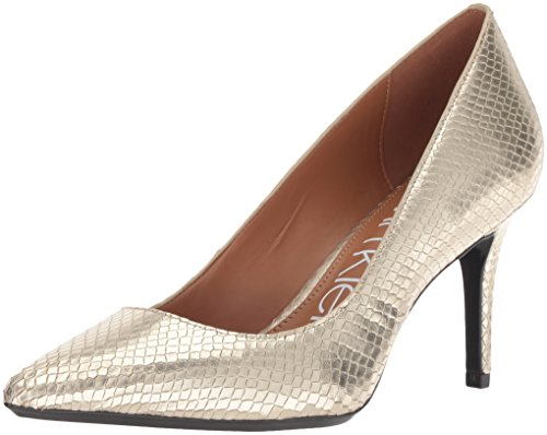 Calvin Klein Women's Gayle Pump, Soft Gold Shiny Snake, 5.5 M US ()