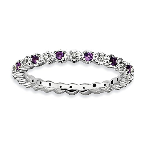 Size 7 Amethyst Diamond Eternity Band Sterling Silver Stackable Expressions (Diamond Silver Eternity Ring)