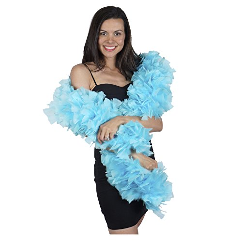 Large Natural Turkey Feather Boa - 6' Light Turquoise Blue Flapper Halloween Cosplay Costume Accessory -