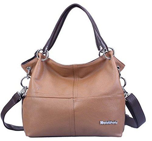 YOGLY Sac à main femme sac cabas sac à main cuir sac fourre hobo grand sac bandoulière sac à main femme pas cher Marron Clair