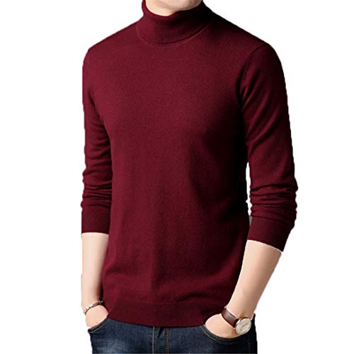 Sweater Men Winter Thick Warm 100% Merino Wool Sweaters Classic Pure Color Turtleneck Pullover Men Cashmere Pull Burgundy S